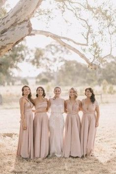 Bridesmaids in pink Twobirds Bridesmaids Australian country wedding. Photo by Jonas Peterson http://jonaspeterson.com/