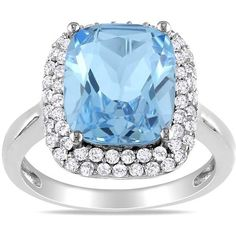 Ice Blue Topaz, Sapphire Sterling Silver Ring (15095 RSD) ❤ liked on Polyvore