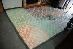 our back workroom PAINT RUG   using our old CeCe Caldwell and APC chalk clay paints  http://fabulousfinishes.wordpress.com/2013/10/01/our-cece-caldwell-paint-can-debacle-making-pretty-outta-yukky/
