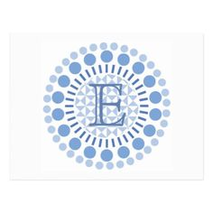 #monogram - #Customisable Monogram Blue Circles Postcard