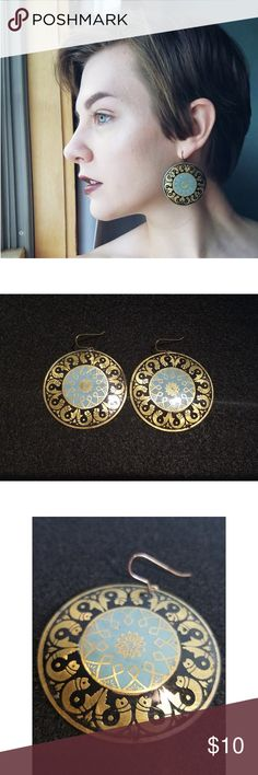 BLUE AND GOLD MEDALLION MANDALA EARRINGS These Grecian-esque medallion earrings are funky and fun paired with many outfits. Hardly worn. Great condition. Jewelry Earrings