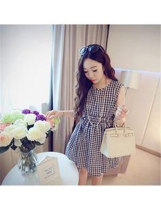 Japanese Fresh Sweet Retro Plaid Cotton Elastic Waist Vest Dress Black JY15041909-01.http://www.clothing-dropship.com