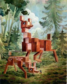 art, illustration, animal, deer, mother, baby, fawn, weird, woodland, tree, //  Pixel animals