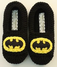 Batman Inspired Slippers - Available in adult or children's sizes.