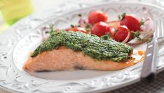 This baked pesto salmon is easy to make yet still looks impressive enough to serve on special occasions.