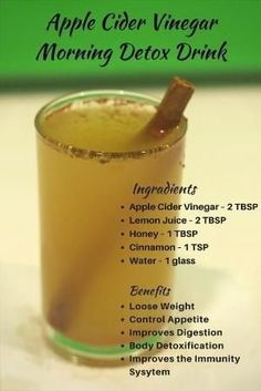 Apple Cider Vinegar Morning Detox Drink for Weight Loss,reduce the acid reflux, diabetes, acne, cold, sore throats, body detoxification, colon cleanse, etc. by lea #HealthyWeightLossJuice