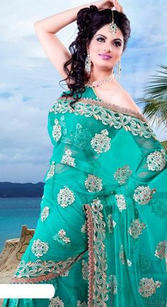 $73.98 Blue Net Saree 21463 With Unstitched Blouse