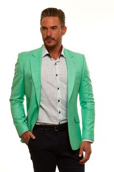Men's Blazer by Suslo Couture - Mint Green