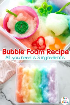 Get ready to fall in love with the ease of this Rainbow Bubble Foam recipe. It only takes three simple ingredients to make it! Rainbow Crafts Preschool, Rainbow Activities, Sensory Activities, Hands On Activities, Infant Activities, April Preschool, Preschool Writing, Free Activities, Motor Activities