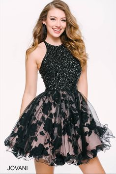 75e405523f7 Black Fit and Flare Homecoming Dress 42215