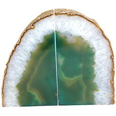 Emerald Green Agate Geode Bookends - Polyvore