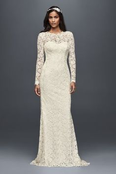 Long Sleeve Lace Wedding Dress with Open Back MS251176