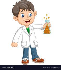 Cartoon boy scientist holding test tube vector image on VectorStock