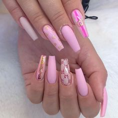 [Over 80 Designs for Perfect Pink Nail Art Designs]Pink nails are so pleasing to the eye. Although in most cases pink nails look girlie and innocent, when paire Pink Nail Art, Summer Acrylic Nails, Best Acrylic Nails, Red Nail, Pastel Nails, Summer Nails, Cute Acrylic Nail Designs, Nail Art Designs, Nails Design