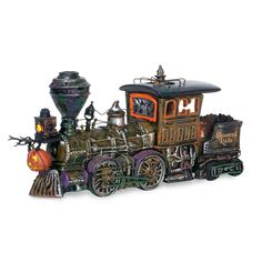 """""""Haunted Rails Engine"""" by Department 56 is part of the Halloween Original Snow Village. Product # Eerie train engine & coal car and spooky emblems. Halloween Town, Halloween Village Display, Halloween Series, Couple Halloween Costumes, Haunted Halloween, Halloween Decorations, Halloween Stuff, Happy Halloween, Lawn Decorations"""