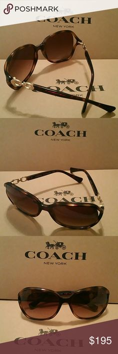 Coach Dark Brown Womens Sunglasses COACH Kissing C Square Dark Tortoise Brown Sunglasses in Black Coach Case  Style - #HC8145 (L9468)  Color: Dark Tortoise, 512013  Brand New with Tags with case  GENUINE COACH    Features:   Filter rating for sun protection is 3 N: 3=High (N)ormalKissing C decor on both side of frames   Dark tortoise square frame  Brown tint glasses   Lens Material: plastic Microfiber pouch  New with Tags Coach Accessories Sunglasses