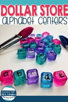 Dollar Tree Centers for January & a FREEBIE - Colorful Candies Kindergarten 2020 Abc Centers, Kindergarten Centers, Kindergarten Classroom, Welcome To Kindergarten, Kindergarten Morning Work, Kindergarten Language Arts, Classroom Ideas, Student Learning, Fun Learning