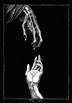 thescariestdarkness:The Craziest Horror Video! All caught on Film Arte Horror, Horror Art, Satanic Art, Skeleton Art, Skeleton Hands, Bild Tattoos, Macabre Art, Creatures Of The Night, Creepy Art