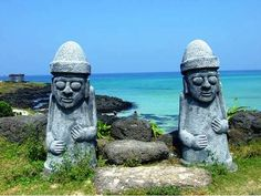 Jeju Island, South Korea. And see the grandfather stones & have a nice little house