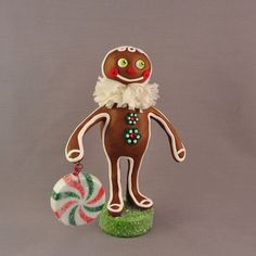 Polymer Clay Gingerbread Man Christmas Figurine by APieceofLisa