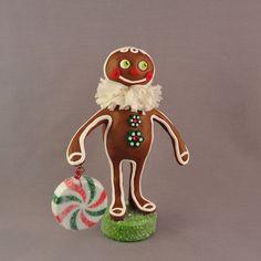 Polymer Clay Gingerbread Man Christmas Figurine by APieceofLisa