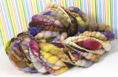 Handspun Art Yarn- Fresh Cut Flowers- Signature WildPlied Artisan Yarn. $48.00, via Etsy.