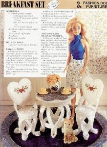 plastic canvas patterns free doll furniture | Plastic Canvas Breakfast Set Barbie Furniture Pattern