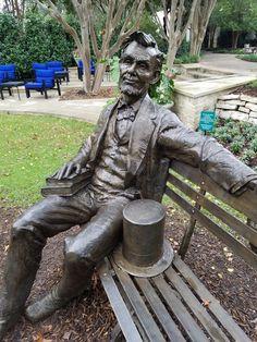 Abe Lincoln life size bronze at the Dallas Arboretum Lincoln Life, Dallas Arboretum, Fun Learning, Garden Sculpture, Bob, Texas, Bronze, Horses, Bob Cuts
