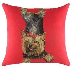 Yoga Lola Yorkie Belgian Tapestry Cushion. Gorgeous Yorkie gifts! Price includes UK post & VAT.