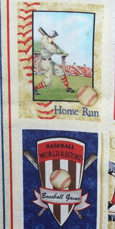 Who's on First / Baseball Fabric / Vintage by trinketsintheattic