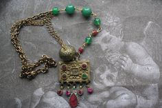 Bohemian Assemblage necklace Vintage Assemblage Upcycled Bohemian Jewelry, Vintage Jewelry, Upcycled Vintage, Repurposed, Antique Necklace, Unique Christmas Gifts, Gold Accessories, Tribal Necklace, Geek Gifts