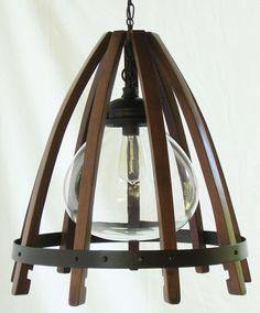 Custom Made Medusa, Recycled Wine Barrel Chandelier, Ceiling Pendant Light