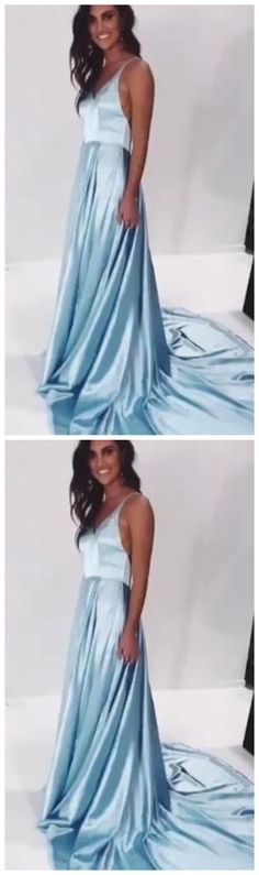 light sky blue satin v-neck a-line prom dresses by olesaweddingdresses, $107.86 USD Classy Prom Dresses, A Line Prom Dresses, Sexy Dresses, Strapless Dress Formal, Evening Dresses, Fashion Dresses, Formal Dresses, New Party Dress, Party Dresses