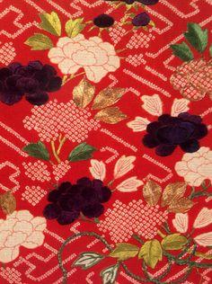 vintage kimono Japanese fabric 1954