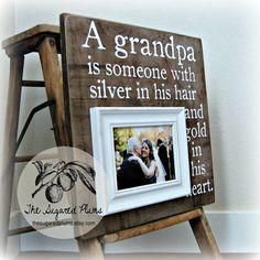 Grandpa Picture Frame, Grandfather, Grandchild, Grandpa, PaPa, Grandparents, Appreciation, Baby Frame, Family 16x16 The Sugared Plums on Etsy, $75.00