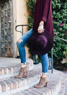 @kellyhjohnson1, fall outfit, outfit inspiration, burgundy sweater, taupe booties, red dress boutique, j crew hat, fall outfit, ripped jeans, made well jeans, blogger photography