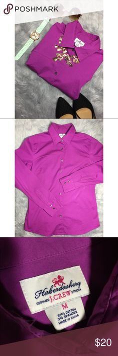 "J.Crew| Purple Button Down Medium (Vintage) J.Crew's Haberdashery, a vintage label of the brand. Size: M. Materials: Cotton and spandex mix. Measurements(apprx): Sleeve: 19"" Length: 26.5"" Width: 17"". Description: Comfy and stretchy beautiful purple button down long sleeved collared shirt. J. Crew Tops Button Down Shirts"