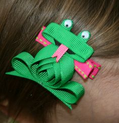 Frog Ribbon Sculpture Hair Clip by Magnificence on Etsy, $3.50