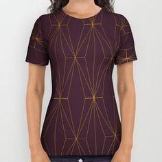 Gold Geometric Pattern All Over Print Shirt