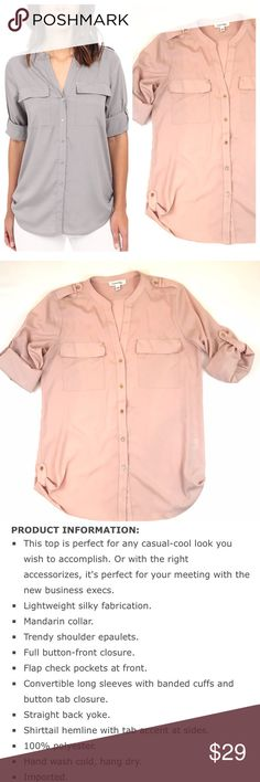 Calvin Klein blush button up shirt Calvin Klein blush button up shirt.  Gold buttons. Used in good condition. Tag says small but fits more like a medium. Calvin Klein Tops Blouses