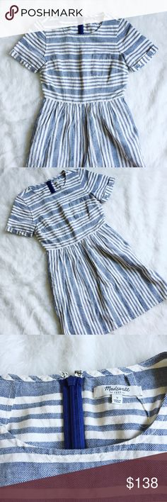 "Madewell Stucco Stripe Dress Stucco Stripe linen dress by Madewell. Size 2. No flaws, excellent condition. This is the reincarnation of the Songbird Dress, same fit but they adjusted the sizing on these so they no longer run small. I found this to run similar to the 4 of the other songbird dress I have listed! -------  •Fitted at waist. •Full skirt. •Falls 34 1/4"" from shoulder. •Linen/cotton. Madewell Dresses"