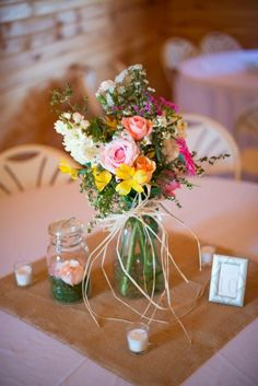 Rustic Wedding Centerpieces   http://rusticweddingchic.com/rustic-wedding-in-smokey-mountains
