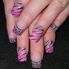 Pink+zebra+leopard+mix+by+Oli123+-+Nail+Art+Gallery+nailartgallery.nailsmag.com+by+Nails+Magazine+www.nailsmag.com+%23nailart Cheetah Nail Designs, French Nail Designs, Cute Nail Designs, Wild Nail Designs, Pink Leopard Nails, Zebra Print Nails, Funky Nail Art, Funky Nails, Nailart