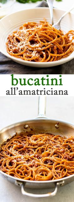 A quick and easy pasta recipe! Bucatini tosses with a simple sauce made with pancetta, garlic, tomato puree, and red pepper flakes. Top with fresh parsley and grated Parmesan cheese for a simple and satisfying dinner. #easyrecipes #pasta #pancetta via @april7116