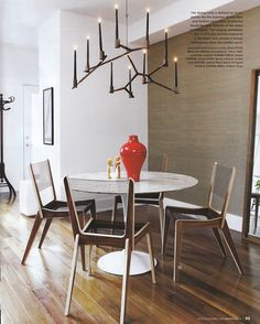 Style at Home March 2012 Saarinen table and wood chairs