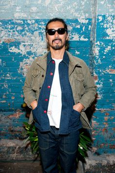 Designer Hiroki Nakamura attends the Visvim Presentation during Mercedes-Benz Fashion Week Spring 2015 at Industria Studios on September 2014 in New York City. Trendy Mens Fashion, Dope Fashion, Japan Fashion, Hiroki Nakamura, Mercedes Benz, Casual Wear For Men, Work Jackets, Japanese Outfits, Outfit Of The Day