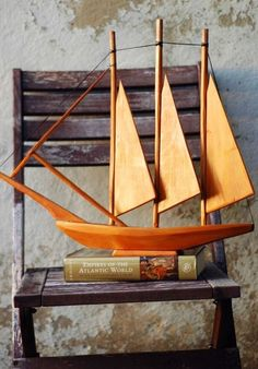 """mid century wooden sailing ship on """"the empires of the Atlantic world"""" Wooden Ship, Wood Boats, Boat Building, Danish Modern, Wood Art, Sailing Ships, Wooden Toys, Nautical, Mid Century"""