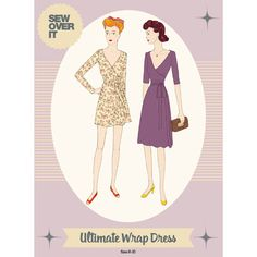$21.  Sew Over It Ultimate Wrap Dress Paper Sewing Pattern Diane Von Furstenberg style wrap dress… does hers have gathers at waist?