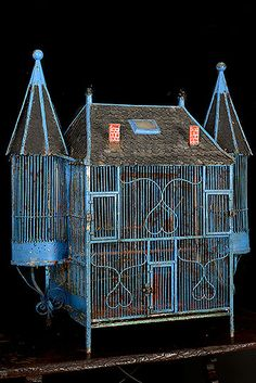 French Antique Chateau Painted Iron Birdcage