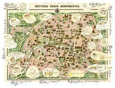 Paris vintage map, French home decor, Parisian hotels poster, fine art print, dirty pink, pale yellow